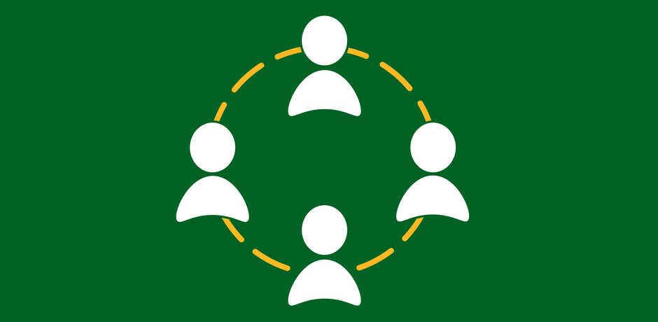 Icon of 4 human figures connected by yellow lines against green background