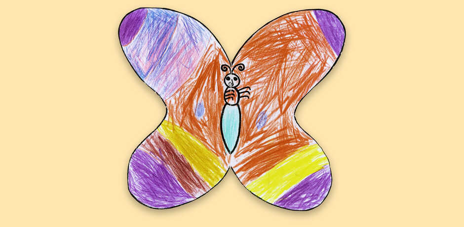 Paper butterfly craft with crayon colors