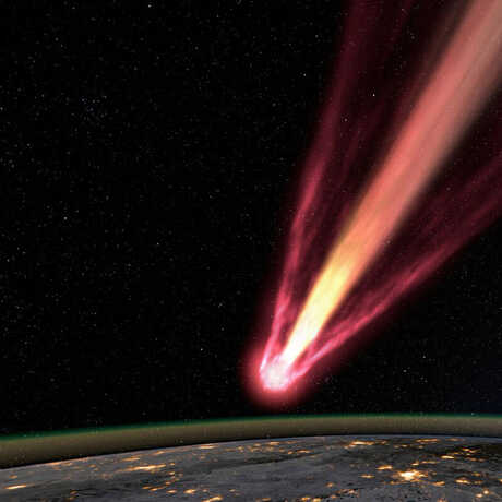 Simulation of incoming asteroid