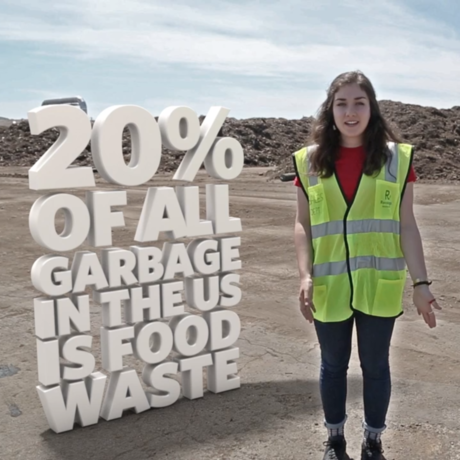Still from a Flipside Science video of a young woman at a garbage dump