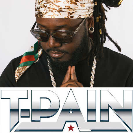 Grammy-winning musician T-Pain pictured with his logo