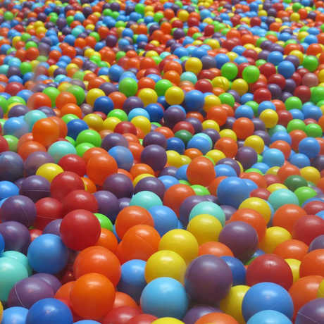 A multicolored ball pit
