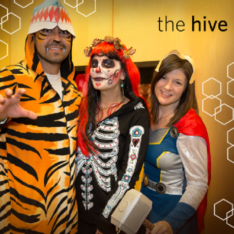 Hive members dressed up in Halloween costumes.