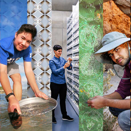 Compilation image of STEMM researchers and scientists featured in New Science exhibit