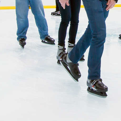 Ice skaters at the Academy ice rink