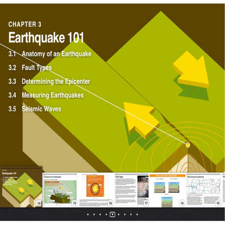 Image of the Earthquake 101 section layout from Earthquake eBook
