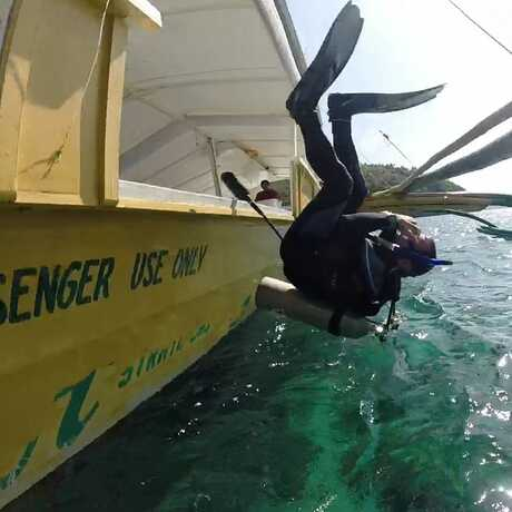 Scientific diver rolling into the water