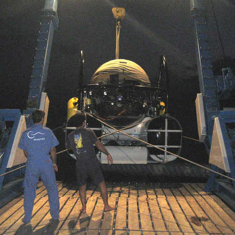 Sub used by Gary Williams on board a research vessel at night off Cocos Island.