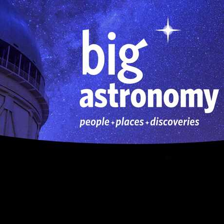 big astronomy logo in front of a dark sky.