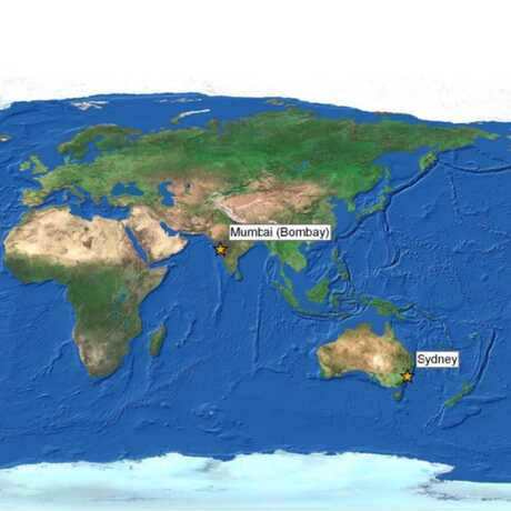 Map of the world showing some cities influenced by coastal Earthquakes.