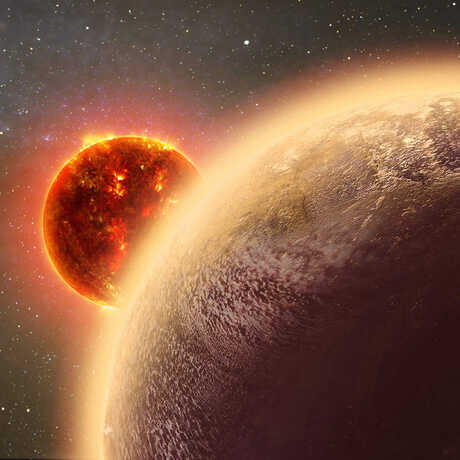 An artistic representation of Gliese 1132b, a planet  orbiting a red dwarf star.