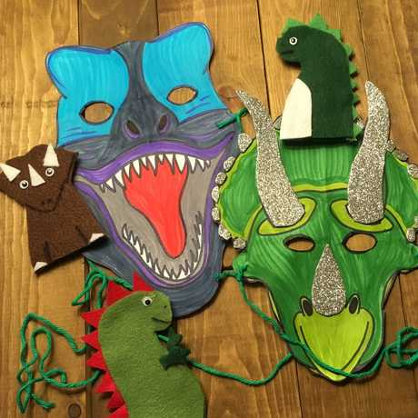 Dinosaur crafts including masks and hand puppets