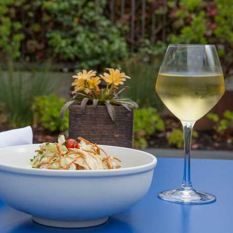 Salad and white wine al fresco at the Academy's Terrace Restaurant