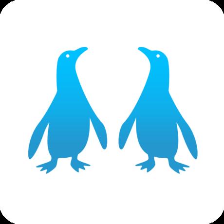 Illustration of two blue penguins