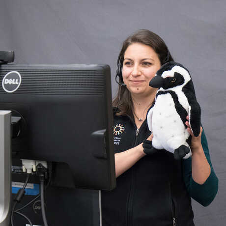 Educator with stuffed penguin