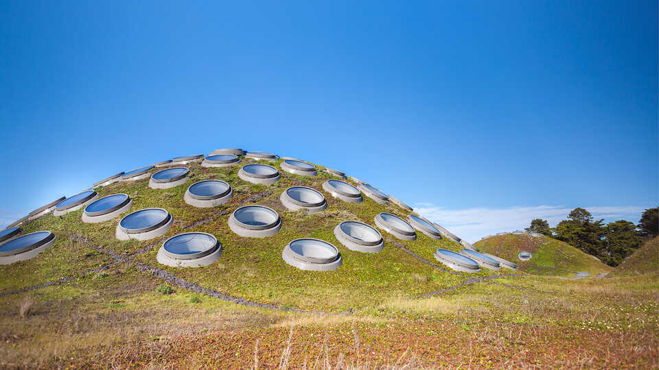 The Living Roof and its automated ventilation system on a sunny day.