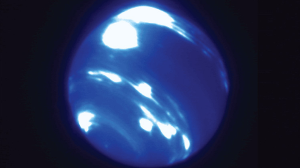 An unusually bright, nearly circular storm system near Neptune's equator