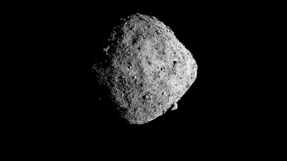 The 1700-foot wide asteroid Bennu as photographed from eight miles away by NASA's OSIRIS-REx spacecraft.