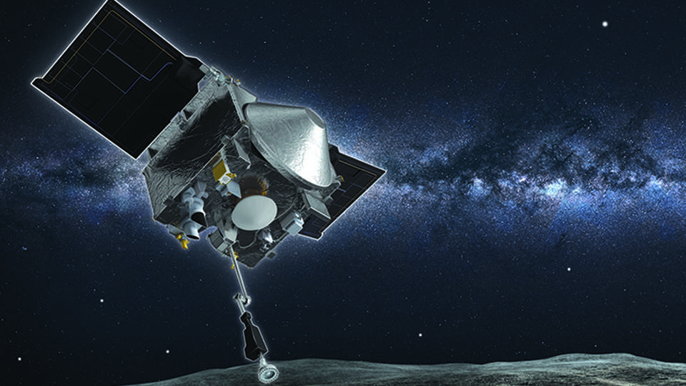 Artist impression of OSIRIS-REx about to collect a surface sample from asteroid Bennu