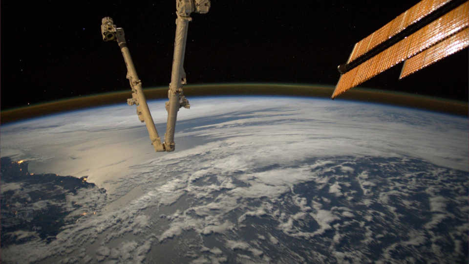The ISS over the limb of planet Earth