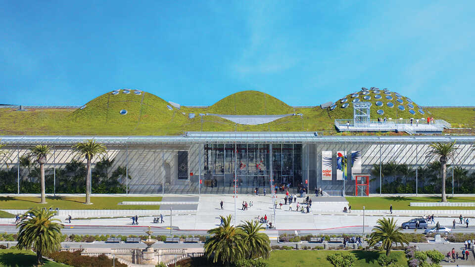 Aerial photo of the California Academy of Sciences